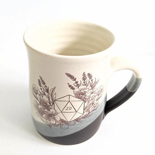Tiny Cat Pottery - Blue D20 Mug