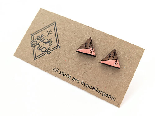 Sick Chick - Wooden Triangle Tree Studs