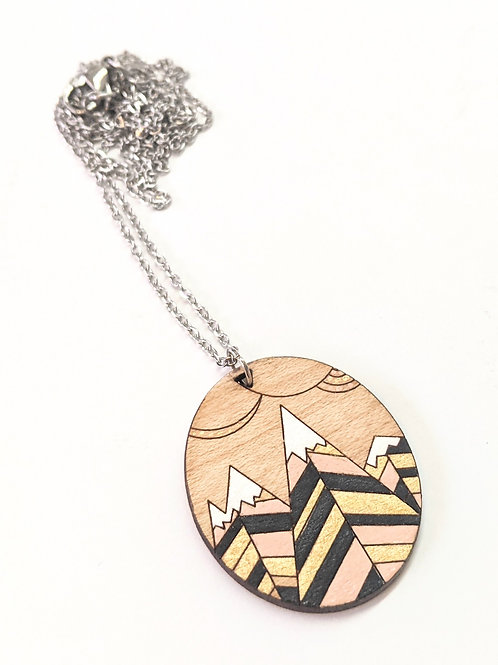 Sick Chick - Wooden Mountain Necklace