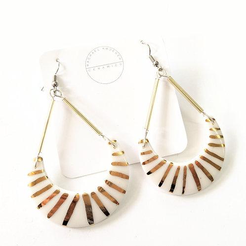 Rachael Kroeker Ceramics - Gold & White Dangly Earrings