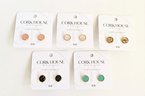 Cork House Designs - Cork Studs With Gold Setting