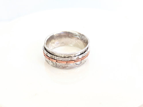 Bent Wire Jewelry - Silver & Copper Spinner Ring