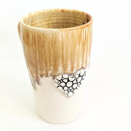 Lisa Martin Pottery - Tall Honey Heart Pebble Mug