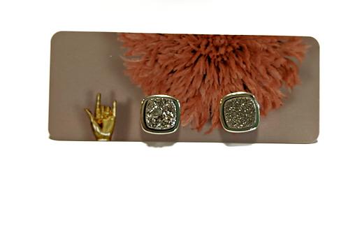 Cat D.esigns - Silver Druzy Stud Earrings