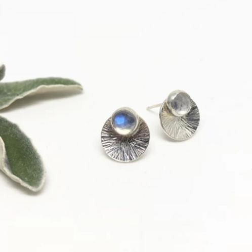 Naked Sage - Silver Moonstone Mandala Earrings