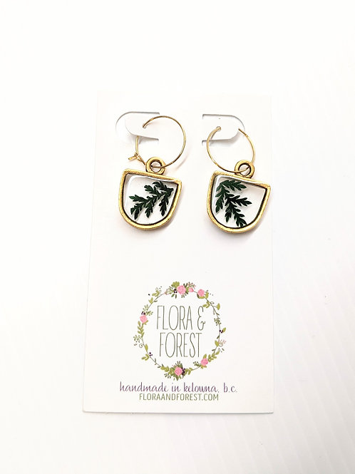 Flora and Forest - Dangly Gold Fern Earrings