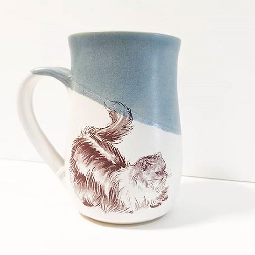 Tiny Cat Pottery - Blue Le Chat Mug