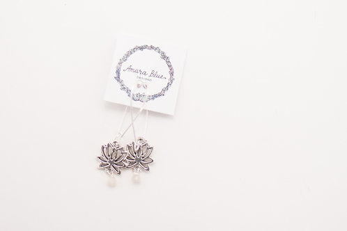Amara Blue - Sterling Silver Lotus Earrings