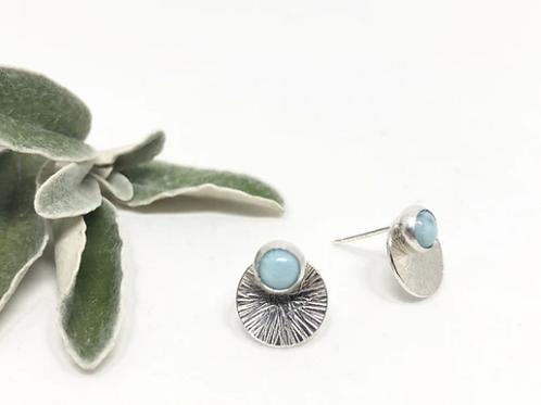 Naked Sage - Silver Larimar Mandala Earrings