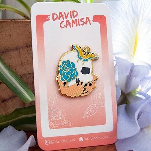 David Camisa - Floral Skull Pin