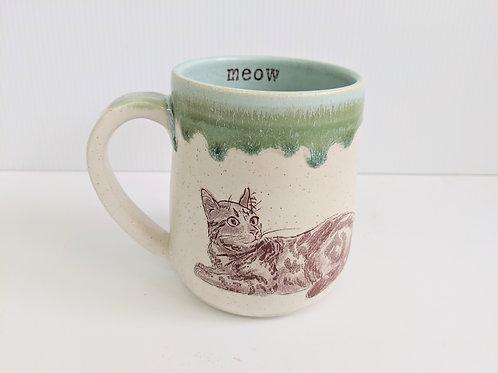 Tiny Cat Pottery - Green Le Chat Mug