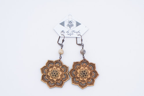 Phresha - Wooden Lotus Earrings