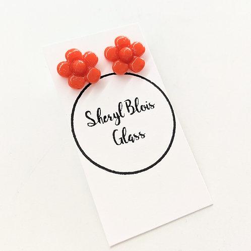 Sheryl Blois Glass - Orange Glass Floral Studs