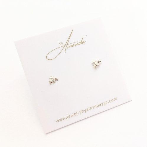 Jewelry By Amanda - Silver Bee Studs
