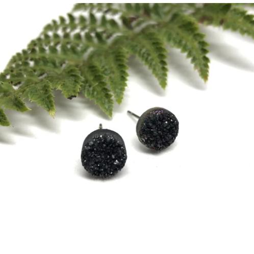 Naked Sage - Black Druzy Studs
