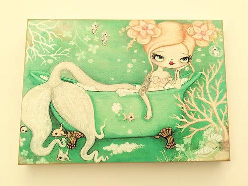 The Poppy Tree - Mermaid Bath Print on Wood