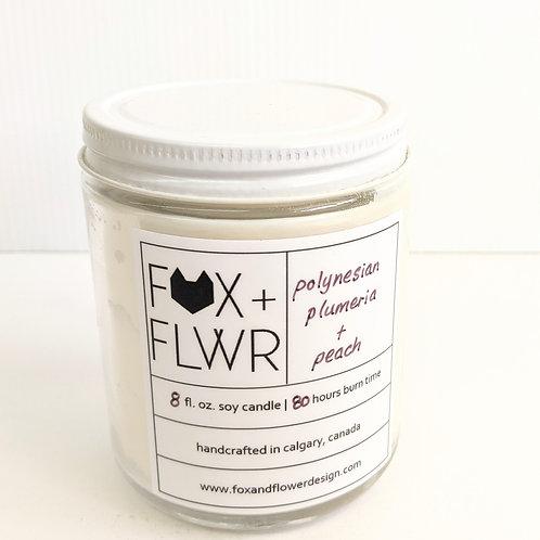 Fox + Flower - Polynesian Plumeria & Peach Candle