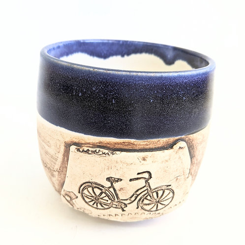 Restless Winds Pottery - Navy Bicycle Tumbler