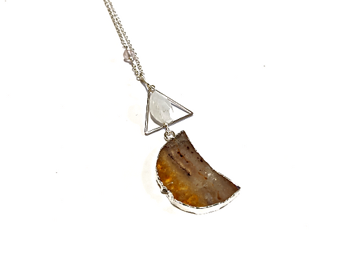 Cat D.esigns - Silver Citrine Luna Necklace
