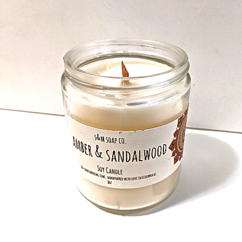 SM Soap Co. - Amber & Sandalwood Soy Candle