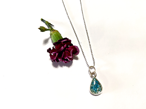 Flora and Forest - Blue Floral Teardrop Necklace