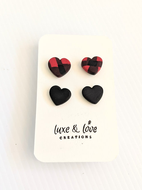 Luxe & Love Creations - 2 Pack Heart Stud Earrings