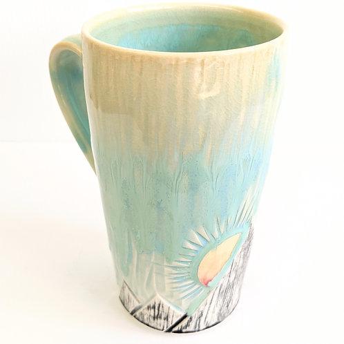 Lisa Martin Pottery - Tall Teal Mountain Mug