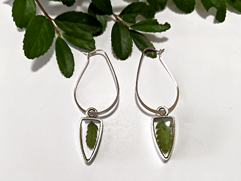 Flora and Forest - Dangly Silver Fern Earrings