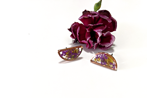Flora and Forest - Purple & Yellow Half Moon Studs