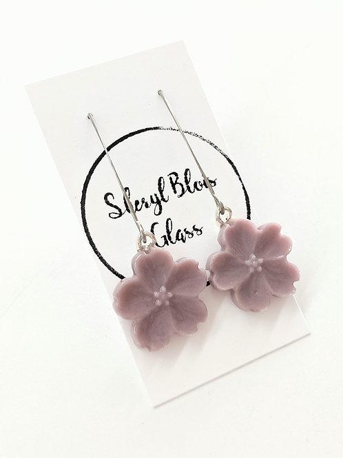 Sheryl Blois Glass - Glass Lilac Drop Earrings