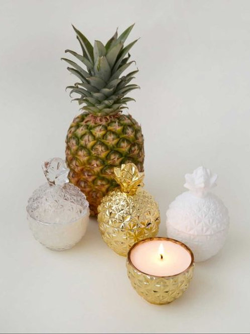 White Aura Candles - Glass Pineapple Candle
