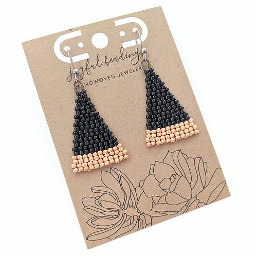 Joyful Beading - Black & Rose Gold Beaded Earrings