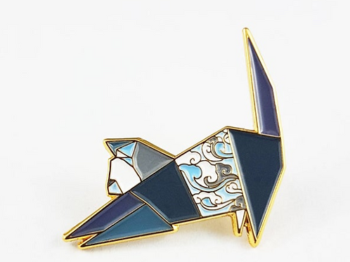 FoldIT Creations - Enamel Origami Stretching Cat Pin