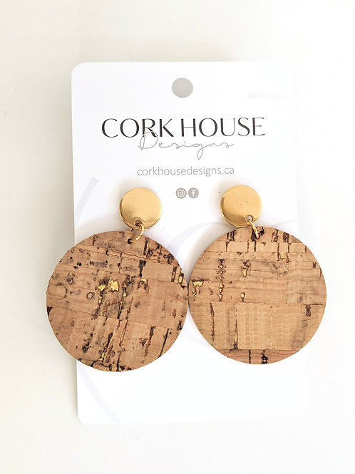 Cork House Designs - Natural Cork with Gold Accents Round Earrings