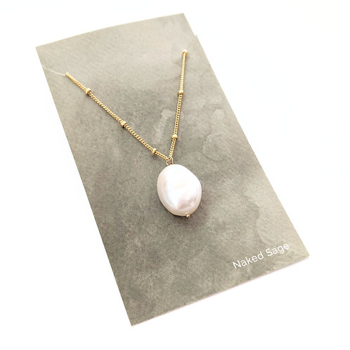 Naked Sage - Gold Pearl Necklace