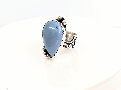 Bent Wire Jewelry - Silver Blue Opal Ring