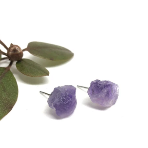Naked Sage - Raw Amethyst Studs