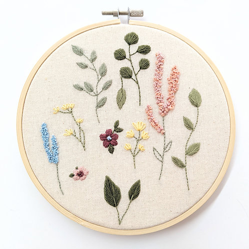 Embroider Tea - Embroidered Florals Wall Hanging