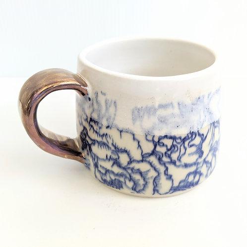 Mowbray Pottery - Blue & White Peonies Mug