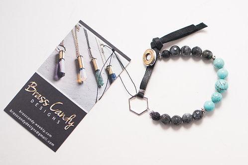 Brass Candy - Labradorite, Turquoise Howlite & Bullet Bracelet