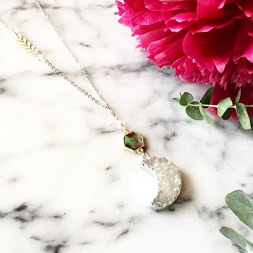 Cat D.esigns - White Druzy Luna Necklace