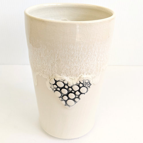 Lisa Martin Pottery - Tall Cream Pebble Heart Mug