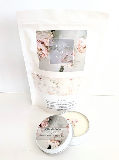 White Aura Candles - Bliss Bath Salts & Candle Set