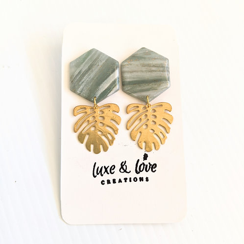 Luxe & Love Creations - Marbled Monstera Earrings