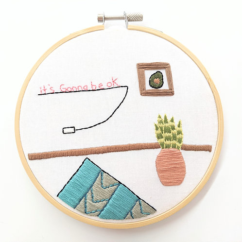 Embroider Tea - Embroidered Room Wall Hanging