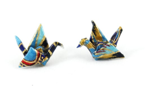 FoldIT Creations - Origami Japanese Paper Crane Earrings