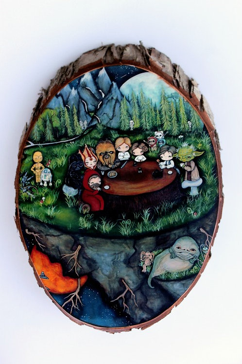 The Poppy Tree - 'Space Tea Party' Print on Wood