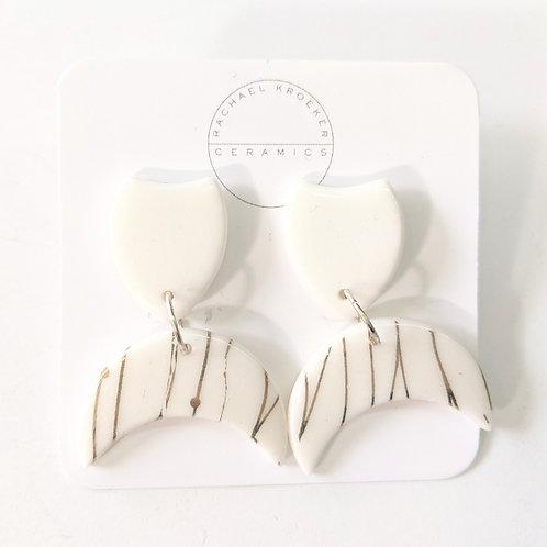 Rachael Kroeker Ceramics - White & Gold Crescent Earrings