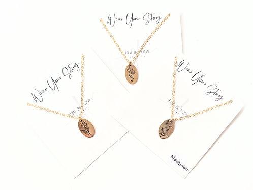 Ebb & Flow Jewelry - Gold Birth Flower Necklace