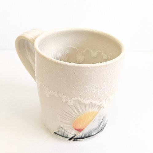Lisa Martin Pottery - Short Cream Mountain Mug
